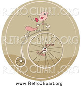 Clipart of a Retro Pink Bird on a Penny Farthing Bicycle in a Brown Circle by Yayayoyo