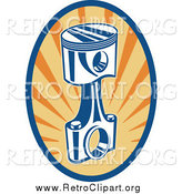 March 27th, 2014: Clipart of a Retro Piston Rod in an Oval of Rays by Patrimonio