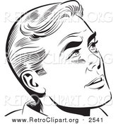 Clipart of a Retro Pop Art Man Looking up by Brushingup