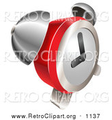 Clipart of a Retro Red and Chrome Bell Alarm Clock by AtStockIllustration