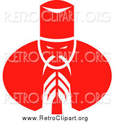 Clipart of a Retro Red Asian Chef Bowing by Patrimonio