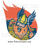 Clipart of a Retro Red Haired Viking Man and Flame by Patrimonio