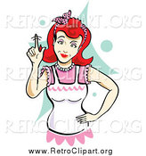 Clipart of a Retro Red Haired White Mother Wagging Her Finger by Andy Nortnik