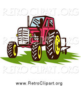 Clipart of a Retro Red Tractor over Grass by Patrimonio