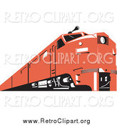 Clipart of a Retro Red Train at a Low Angle by Patrimonio