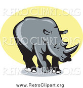 Clipart of a Retro Rhino over Yellow by Patrimonio