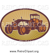 Clipart of a Retro Road Grader Machine by Patrimonio