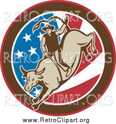December 11th, 2014: Clipart of a Retro Rodeo Cowboy Riding a Bull in an American Flag Circle by Patrimonio