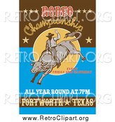 Clipart of a Retro Rodeo Poster by Patrimonio