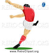 Clipart of a Retro Rugby Football Player Kicking by Patrimonio