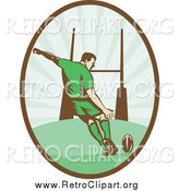 Clipart of a Retro Rugby Football Player Kicking in an Oval by Patrimonio