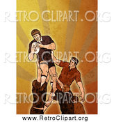 Clipart of a Retro Rugby Player Jumping over Orange Grunge by Patrimonio