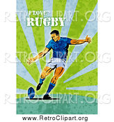 Clipart of a Retro Rugby Player on Green Grunge with Text by Patrimonio