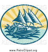 Clipart of a Retro Sailing Galleon Ship Logo by Patrimonio