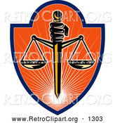 Clipart of a Retro Scales of Justice Shield by Patrimonio