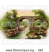 Clipart of a Retro Scene of Irelands Old Weir Bridge in Killarney, Circa 1910 by OldPixels