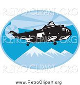 Clipart of a Retro Search and Rescue Helicopter Above Mountains by Patrimonio