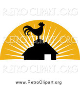Clipart of a Retro Silhouetted Rooster Atop a Barn by Patrimonio