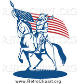 Clipart of a Retro Soldier Playing a Trumpet on Horseback by an American Flag by Patrimonio
