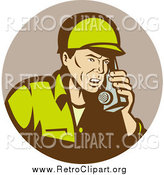 Clipart of a Retro Soldier Using a Field Radio by Patrimonio