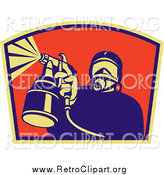 Clipart of a Retro Spray Painter Worker by Patrimonio