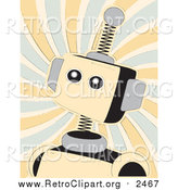 Clipart of a Retro Springy Beige Robot over Swirls by Mheld