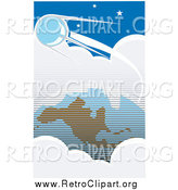 Clipart of a Retro Sputnik Orbiting Around Clouds and Earth by Xunantunich