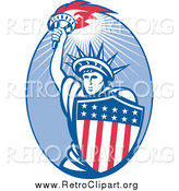 Clipart of a Retro Statue of Liberty and American Shield Oval by Patrimonio