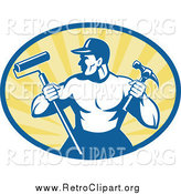 Clipart of a Retro Strong Handyman Holding a Paint Roller and Hammer by Patrimonio