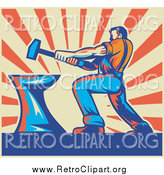 Clipart of a Retro Strong Male Blacksmith Hammering over Beige and Orange Rays by Patrimonio