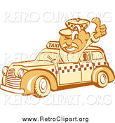 Clipart of a Retro Thumbs up Taxi Driver Guy by Andy Nortnik