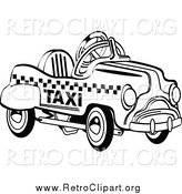 Clipart of a Retro Toy Pedal Taxi Car by Andy Nortnik