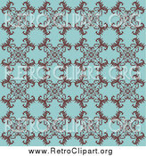 Clipart of a Retro Turquoise Background with a Floral Pattern by KJ Pargeter