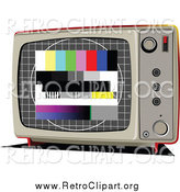 Clipart of a Retro TV with Test Screen by Leonid