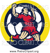 Clipart of a Retro Victorious Male Athlete Cheering on His Knees over a Soccer Ball in a Circle by Patrimonio