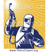 Clipart of a Retro Welder Worker Against Orange Rays by Patrimonio