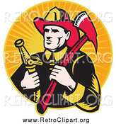 Clipart of a Retro White Male Fireman with an Axe and Hose over Orange Rays by Patrimonio