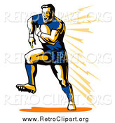 Clipart of a Retro White Male Rugby Football Player Running by Patrimonio