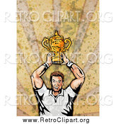 Clipart of a Retro White Male Rugby Player Holding a Trophy, on Grunge by Patrimonio