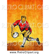 Clipart of a Retro White Male Rugby Player Passing, on Orange Grunge by Patrimonio