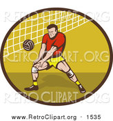 Clipart of a Retro White Male Volleyball Player Preparing to Hit a Ball by Patrimonio