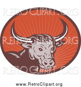 Clipart of a Retro Woodcut Longhorn Bull in an Oval of Rays by Patrimonio