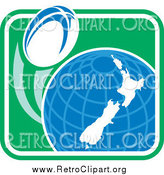 June 6th, 2015: Clipart of a Rugby Ball Flying Around a New Zealand Globe in a Retro Green Square by Patrimonio