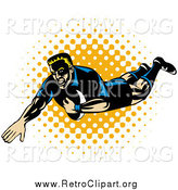 Clipart of a Rugby Football Player Falling by Patrimonio