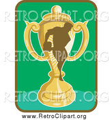 Clipart of a Rugby Player and Trophy Icon by Patrimonio