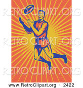 Clipart of a Rugby Player Jumping over Sun Rays to Catch a Ball by Patrimonio