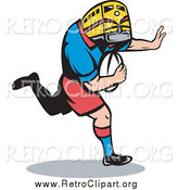 Clipart of a Rugby Player with a Train Head and Ball by Patrimonio