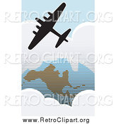 Clipart of a Silhouetted American Bomber Aircraft over the USA by Xunantunich