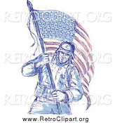 Clipart of a Sketched Patriotic Soldier Carrying an American Flag by Patrimonio