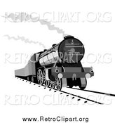 Clipart of a Steam Engine Releasing Steam by Patrimonio